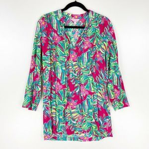 Lilly Pulitzer Sarasota Tunic Top Pink Floral S